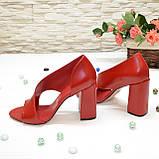 Босоножки женские кожаные на устойчивом каблуке, цвет красный, фото 4