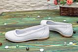 Балетки белые кожаные на низком ходу, фото 3