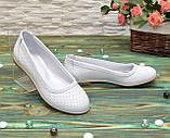 Балетки белые кожаные на низком ходу, фото 4