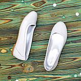 Балетки белые кожаные на низком ходу, фото 5