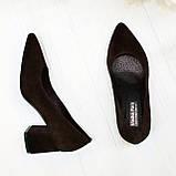 Туфли женские замшевые на устойчивом каблуке, цвет коричневый, фото 2