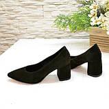 Туфли женские замшевые на устойчивом каблуке, цвет коричневый, фото 3