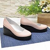 Женские кожаные туфли на устойчивой платформе, цвет пудра, фото 2