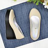 Женские кожаные туфли на устойчивой платформе, цвет бежевый, фото 2
