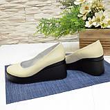 Женские кожаные туфли на устойчивой платформе, цвет бежевый, фото 3