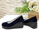Женские замшевые туфли на устойчивой платформе, цвет синий, фото 3