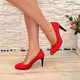 Туфли женские замшевые классические на шпильке, цвет красный, фото 2
