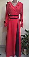 Длинное женское платье кораллового цвета фасон на запах