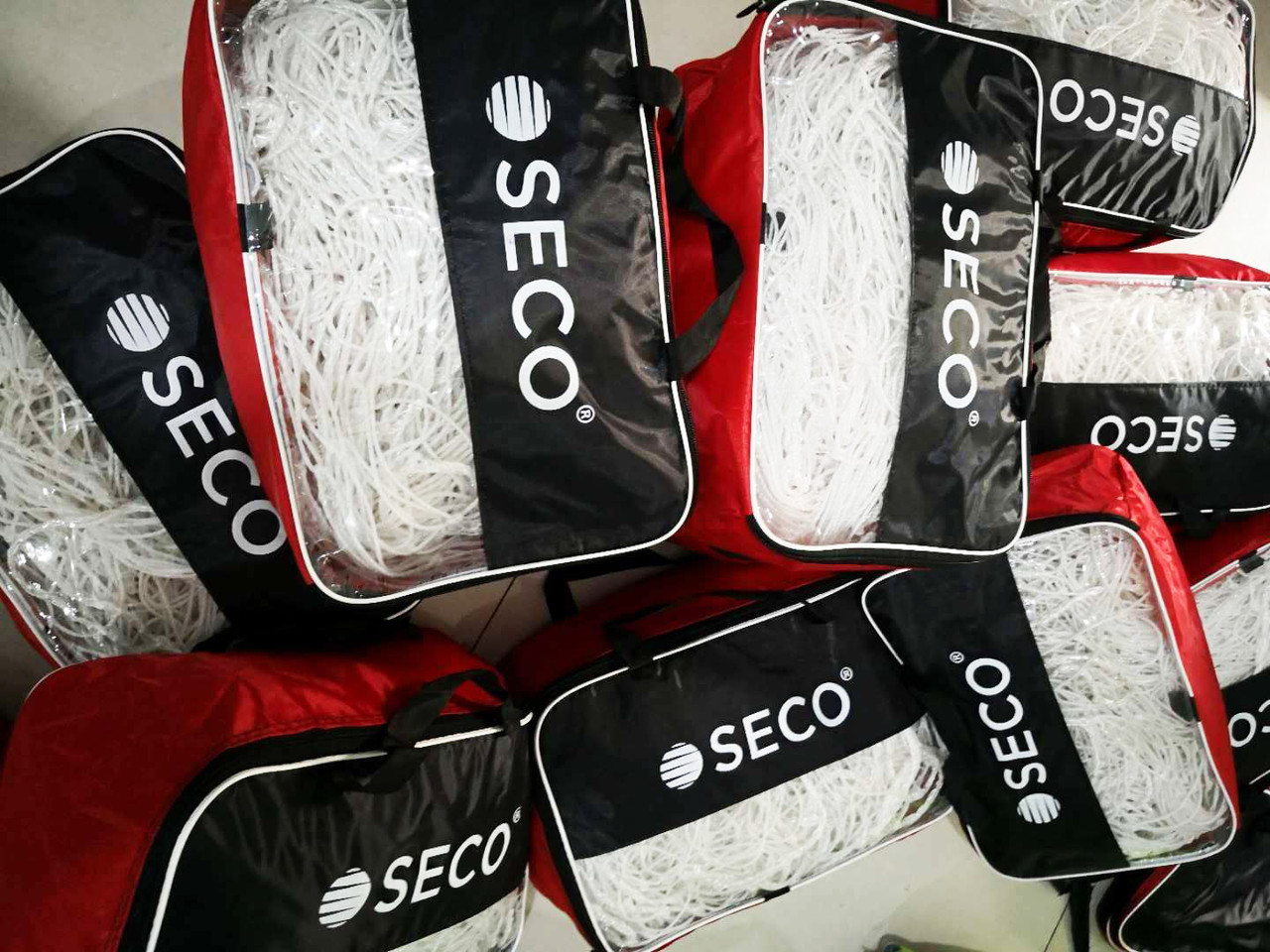 Футбольная сетка SECO толщина нити: 4 мм; размер:7.4х2.5х1.5 м