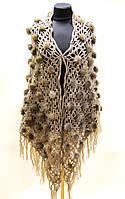 Шаль из натурального меха - меховая накидка капучино.