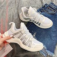 Кроссовки женские в стиле Louis Vuitton текстильные белые с серыми вставками