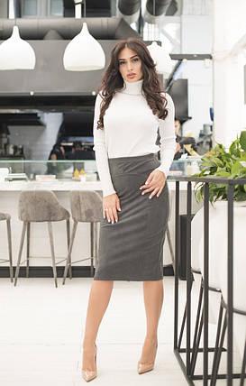 """Замшевая женская юбка-карандаш """"Джени"""" с завышенной талией (4 цвета), фото 2"""