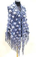 Накидка норковая - меховая шаль светло - голубая.