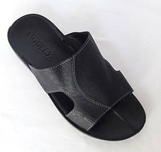 Мужские Шлёпанцы Тапочки MODELX Сланцы Чёрные Кожаные (размеры: 42), фото 3
