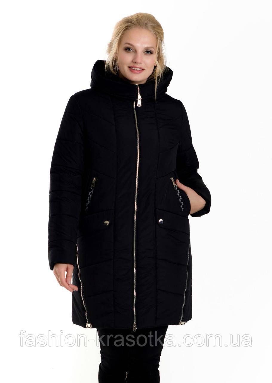 Модний жіночий теплий пуховик чорного кольору