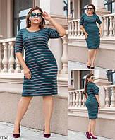 Трикотажное платье больших размеров из ангоры в полоску