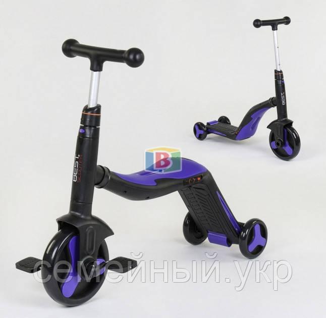 Детский самокат 3в1. Трансформация в велосипед и самокат. Звуковые и световые эффекты. JT 10993 Фиолетовый