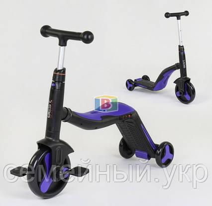 Детский самокат 3в1. Трансформация в велосипед и самокат. Звуковые и световые эффекты. JT 10993 Фиолетовый, фото 2