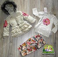 Комплект для девочки осень-весна: пальто+туника+брюки-лосины