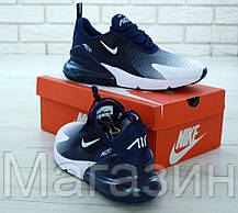Мужские кроссовки Nike Air Max 270 White/Blue (в стиле Найк Аир Макс 270) белые с синим, фото 3