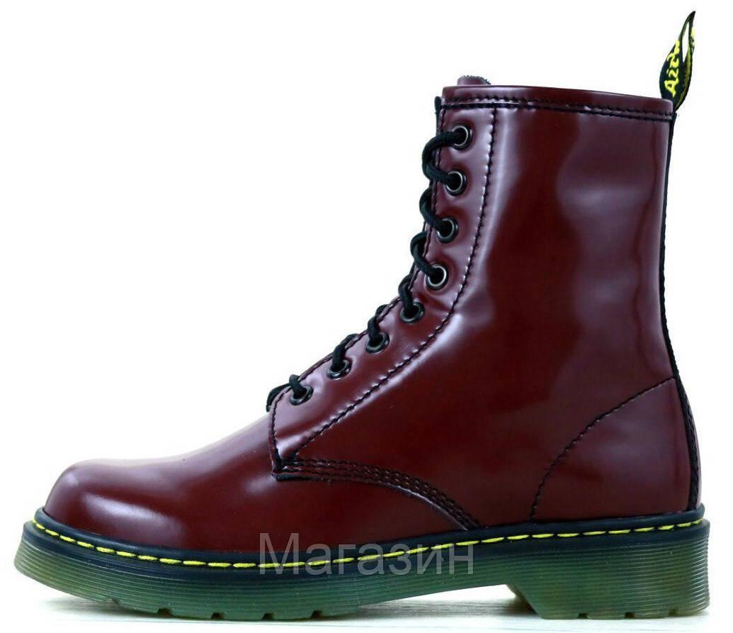 Женские ботинки Dr. Martens 1460 Smooth VEGAN Bordo Доктор Мартинс бордовые БЕЗ МЕХА