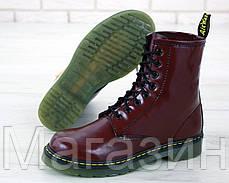Женские ботинки Dr. Martens 1460 Smooth VEGAN Bordo Доктор Мартинс бордовые БЕЗ МЕХА, фото 3