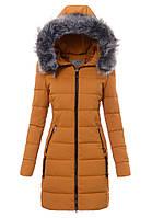 Женское зимнее стёганое пальто  с капюшоном