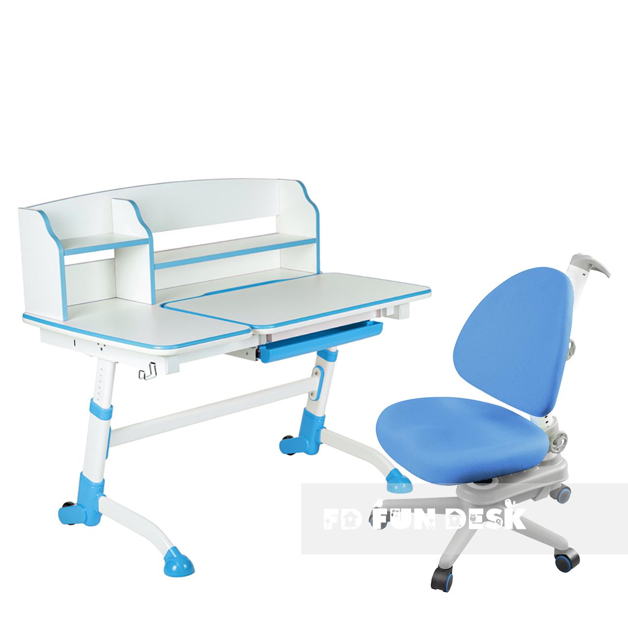 Комплект подростковая парта для школы Amare II Blue + ортопедическое кресло SST10 Blue FunDesk