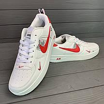 Кроссовки мужские в стиле Nike Air белые с красными вставками, фото 2