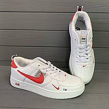 Кроссовки мужские в стиле Nike Air белые с красными вставками, фото 3