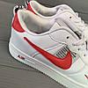 Кроссовки мужские в стиле Nike Air белые с красными вставками, фото 6