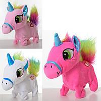 Лошадь MP 1948 (30шт) единорог,16см, звук, ходит, шевелит хвостом, 3цв, бат-таб, в кульке, 14-16-7см