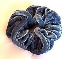 Гумка для волосся, велюр сіро-синя, д. 10 см