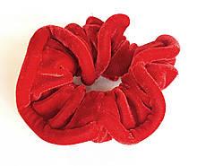 Гумка для волосся, велюр червона, д. 10 см
