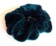 Резинка для волос, велюр темно-зеленая, д.10 см