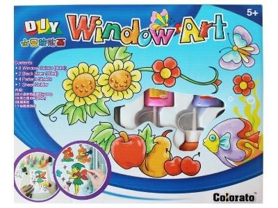 Витражных красок 8цветов + 2 контура, с трафаретами ʺLeaderʺ №856012 ʺВитражʺ