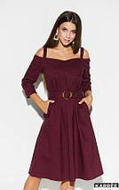 Платье средней длины открытые плечи на бретелях с карманами цвет бордовый, фото 3