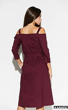 Платье средней длины открытые плечи на бретелях с карманами цвет бордовый, фото 2