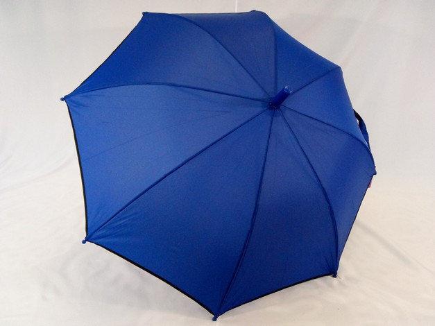 Синий подростковый зонт-трость однотонный с каймой на 8 спиц