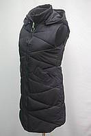Стильная женская удлиненная  стеганная жилетка фабричный Китай черная