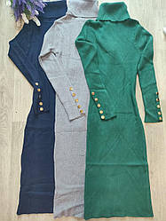 Платье женское с горлом пуговички универсал 42-46 (деми)