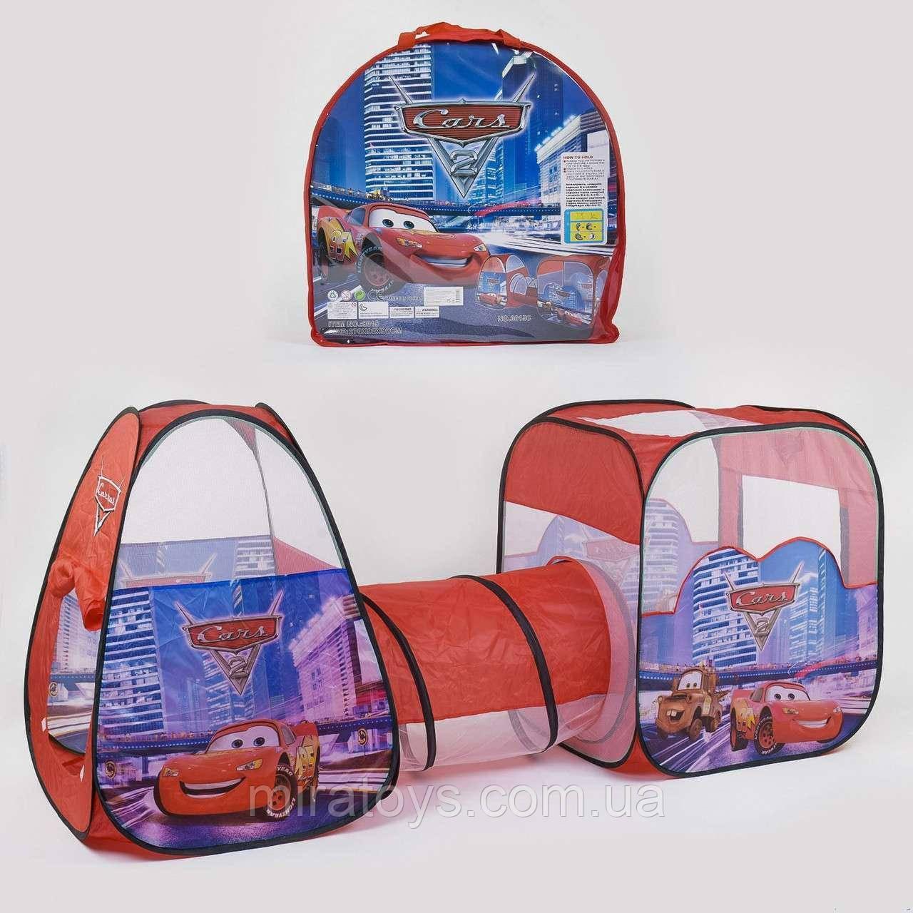 """✅Намет дитячий ігровий 8015C, """"Машинки"""", 2 будиночки з переходом-тунелем, 270*92*92 см"""