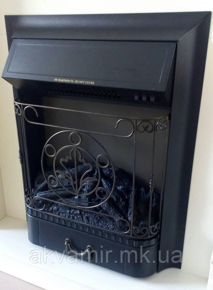 Электроочаг Majestic Lux Black со звуком потрескивания дров электрический