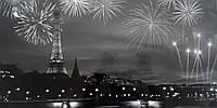 Фотокартина на двп: Нічний Париж (ч/б)