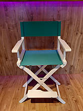 Стул для визажиста, складной, деревянный, стул режиссера, стул для фото сессии, белый с зеленой тканью