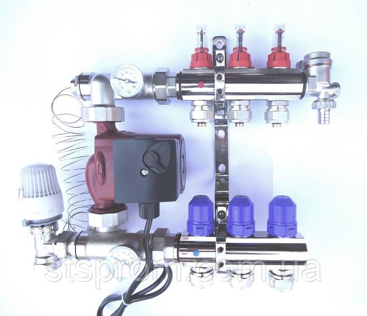 Коллектор STS для теплого пола на 3 выхода, латунь никел. +насос отдельно