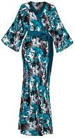 Домашний халат кимоно длинный на запах с цветами бирюзовый