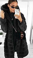 Шуба женская с капюшоном Черный