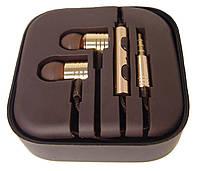 Наушники вакуумные с микрофоном в футляре MDR M2, золотые