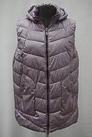 Теплая женская удлиненная жилетка Фабричный Китай большие размеры 48-58р.